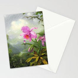12,000pixel-500dpi - Hummingbird Perched On The Orchid Plant - Martin Johnson Heade Stationery Cards