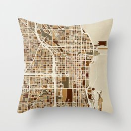 Chicago City Street Map Throw Pillow