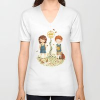 school V-neck T-shirts featuring Back to School by Teagan White