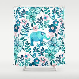 Dusty Pink, White and Teal Elephant and Floral Watercolor Pattern Shower Curtain