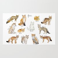 foxes Area & Throw Rugs featuring Foxes by Amy Hamilton