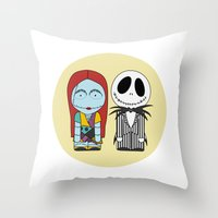 nightmare before christmas Throw Pillows featuring Nightmare Before Christmas by Big Purple Glasses