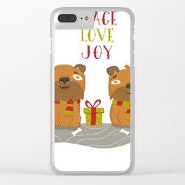Brussels Griffon Peace , Love, Joy Clear iPhone Case