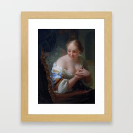 """Godfried Schalcken  """"Young woman in front of a mirror"""" Framed Art Print"""