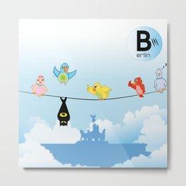 Silly Birds above Berlin - 01 Brandenburger Tor Metal Print