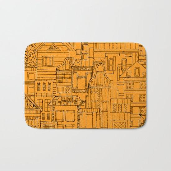 Houses - orange Bath Mat