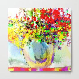Red, Yellow, and Purple Flowers on an Indian Blanket Metal Print