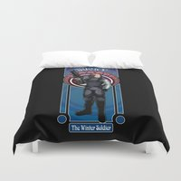 bucky Duvet Covers featuring Bucky the Winter soldier by Studio Kawaii