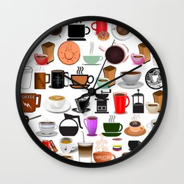 Coffee Mugs, Cups and Makers Wall Clock