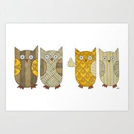 4 Gold Owls Art Print