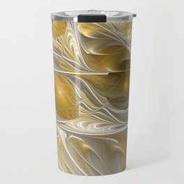 Golden, Abstract Fractal Art Travel Mug