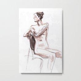 Nude model, life sketch Metal Print