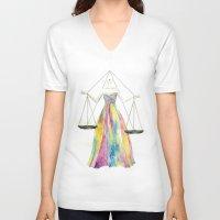 zodiac V-neck T-shirts featuring Zodiac - Libra by Simona Borstnar