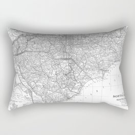 Vintage Map of The Carolinas (1891) BW Rectangular Pillow