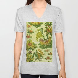 Chartreuse Chinoiserie Unisex V-Neck
