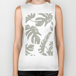 Simply Retro Gray Palm Leaves on White Biker Tank