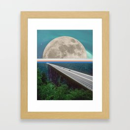 A moon away Framed Art Print