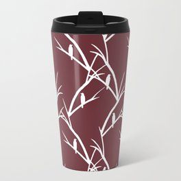 Bird Silhouette Red Pattern Travel Mug