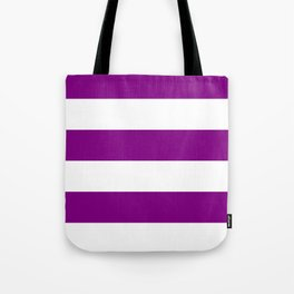 Wide Horizontal Stripes - White and Purple Violet Tote Bag