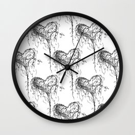 Inkling of Heart in black & white Wall Clock