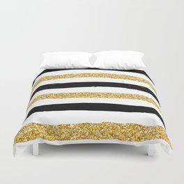 Black and Gold Glitter Brushstroke Stripes Duvet Cover