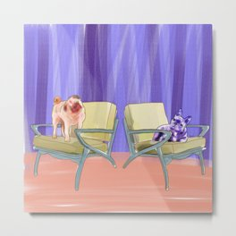 Dog in chair #6 Pug and Frenchie Metal Print
