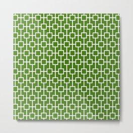Leaf Green Lattice Pattern Metal Print