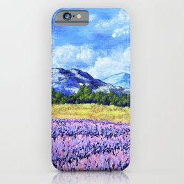 Fields of Lavender by Mike Kraus - provence france french landscape mountains clouds sky flowers iPhone Case