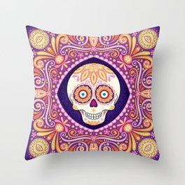 Cute Sugar Skull - Day of the Dead Skull Art by Thaneeya McArdle Throw Pillow