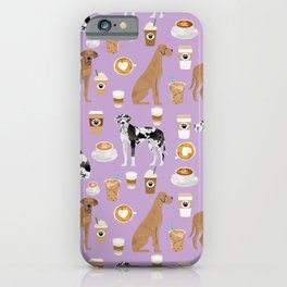 Great Dane coffee cafe dog breed pattern custom pet portrait iPhone Case