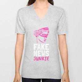 Fake News Junkie - Cool Saying Design Unisex V-Neck