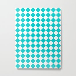 Diamonds - White and Cyan Metal Print