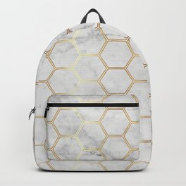 Geometric Honeycomb Pattern - Marble & Gold #767 Backpack