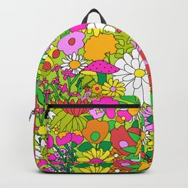 60's Groovy Garden in Lime Green Backpack
