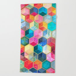 Crystal Bohemian Honeycomb Cubes - colorful hexagon pattern Beach Towel