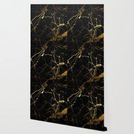 Black-Gold Marble Impress Wallpaper