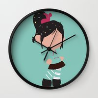 wreck it ralph Wall Clocks featuring Vanellope von Schweetz - Wreck it Ralph by Adrian Mentus