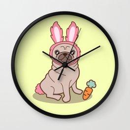 Pug dog in a rabbit costume Wall Clock