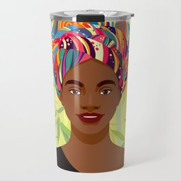 Set of young attractive african american women, Landscape of bamboo stems and leaves background. 1/3 Travel Mug