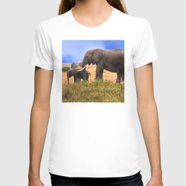 Baby Elephant With Elephant Parents In Kenya, Africa T-shirt