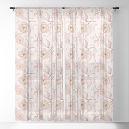 Pink Peony Kiss Floral Pattern Sheer Curtain