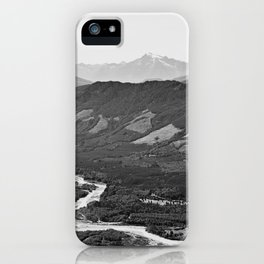 River in the Mountains B&W iPhone Case