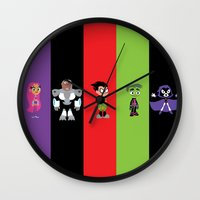 teen titans Wall Clocks featuring Teen Titans Go by Adrian Mentus
