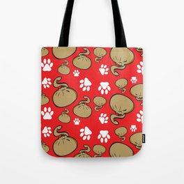 Dumpling Cat Red pattern Tote Bag