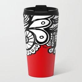 Red Doodle Metal Travel Mug
