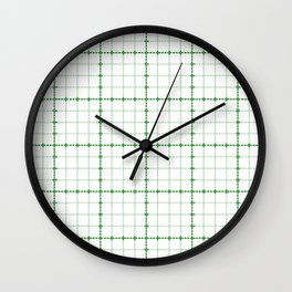 Dotted Grid Weave Green Wall Clock