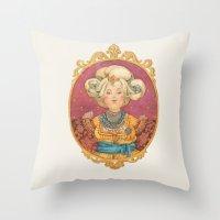 queen Throw Pillows featuring Queen by Kasheva