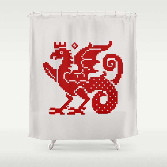 Medieval Red Dragon Shower Curtain