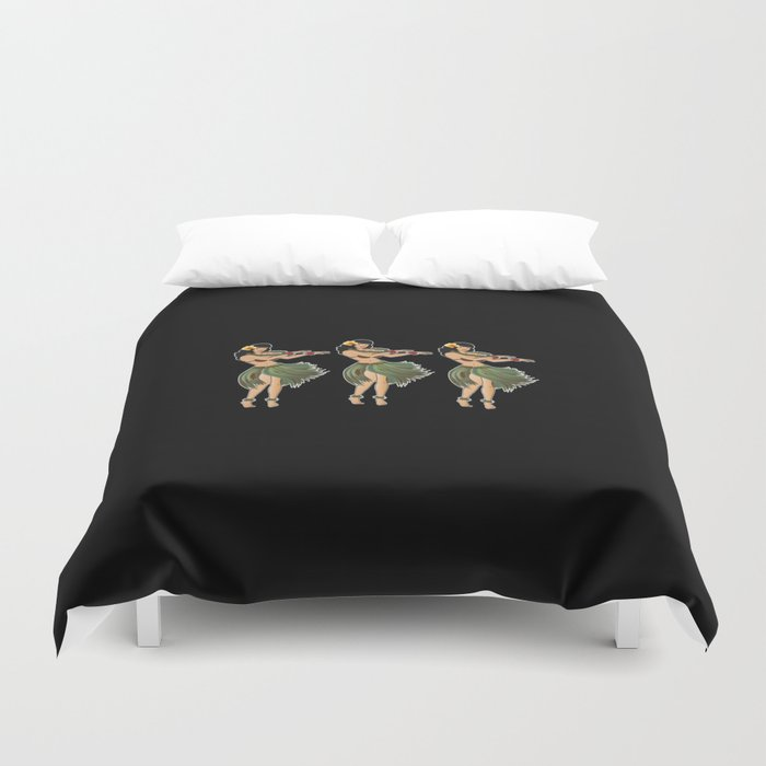 Beautiful Hula Girl Dancing the Hula BLK Duvet Cover
