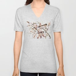 Birds on Fall Tree, Brown Sahara colors birds, sparrow, sparrow birds Unisex V-Neck